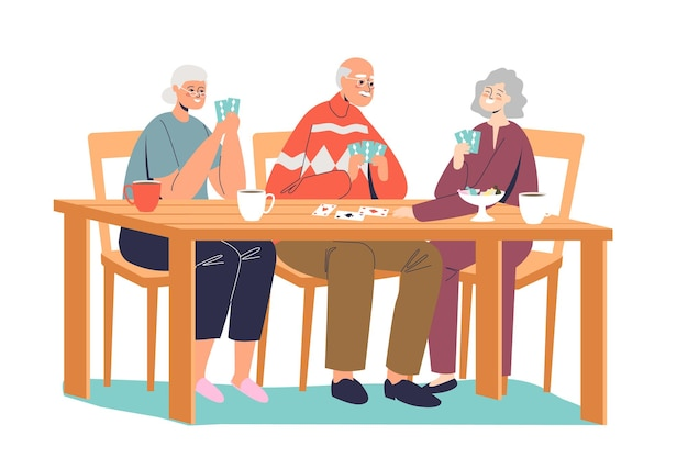Group of happy senior people playing cards illustration