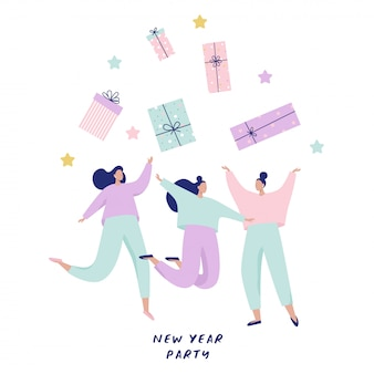 Group of happy women jumping and catching big gift boxes. happy new year   illustration for banner, postcards.