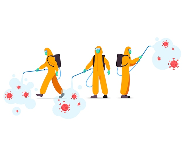 Group of health officer spraying disinfectant