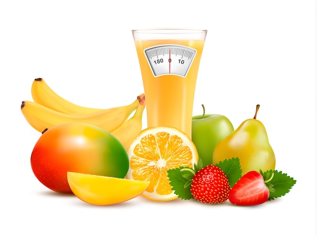 Group of healthy fruit. diet concept.