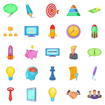 Group icons set, cartoon style