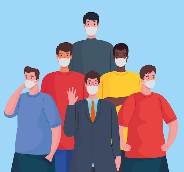 Group of interracial men wearing medical masks characters