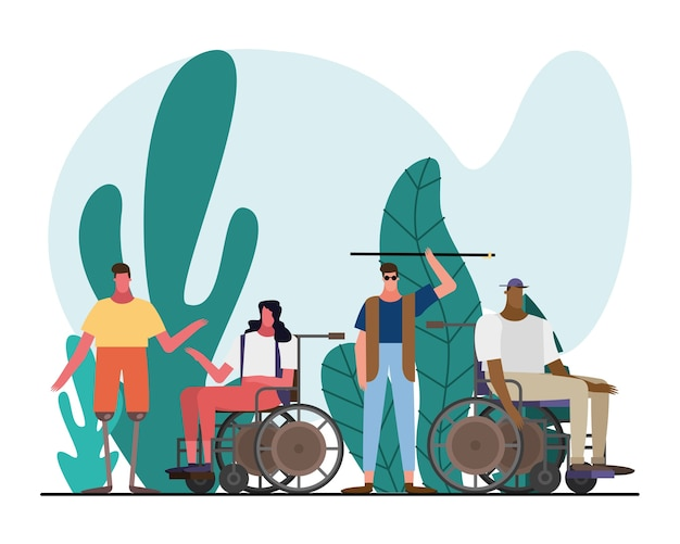Group of interracial people with handicaps characters in the garden illustration design