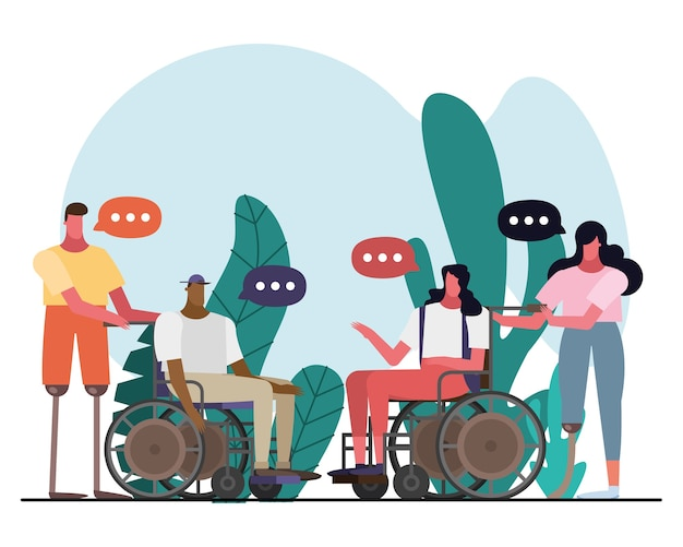 Group of interracial people with handicaps talking characters illustration design