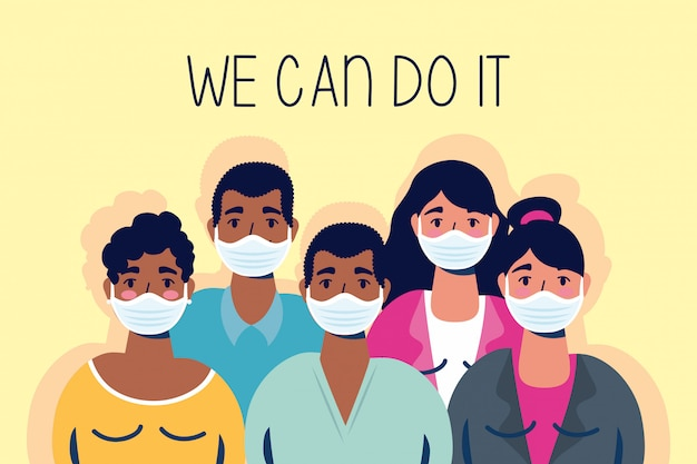 Group of interracial people with we can do it message  illustration
