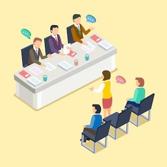 Концепция группового интервью в 3d изометрической плоской конструкции