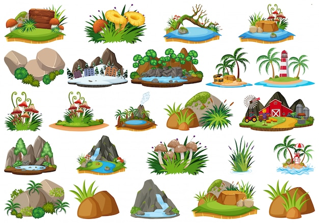 Group of isolated objects theme, landforms