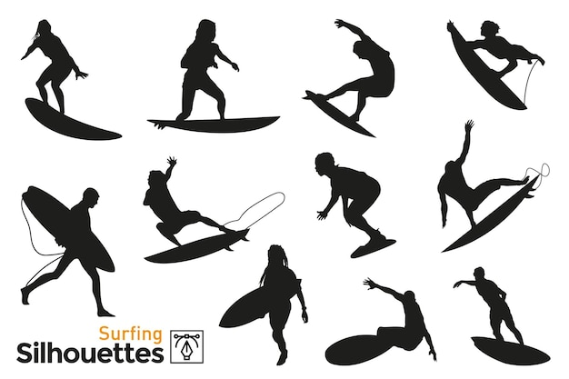 Group of isolated silhouettes of people surfing