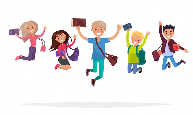 Group of jumping students with books, big backpacks and stylish brief bags isolated
