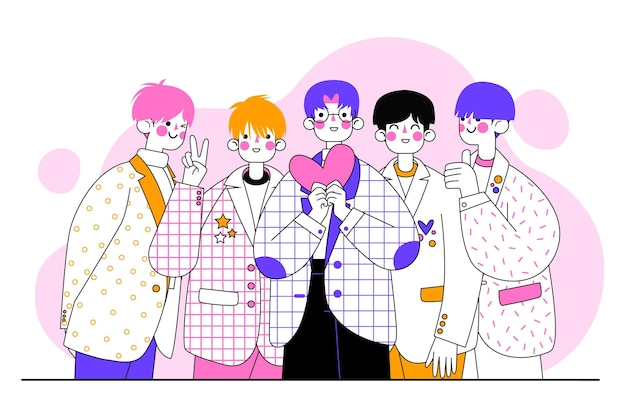 Group of k-pop boys illustrated