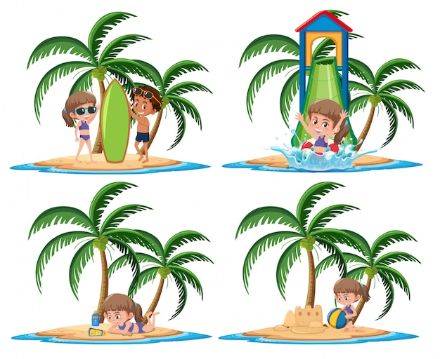 Group of kids doing vacation activities on a tropical island