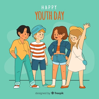 Group of kids on hand drawn style celebrating youth day on light green background