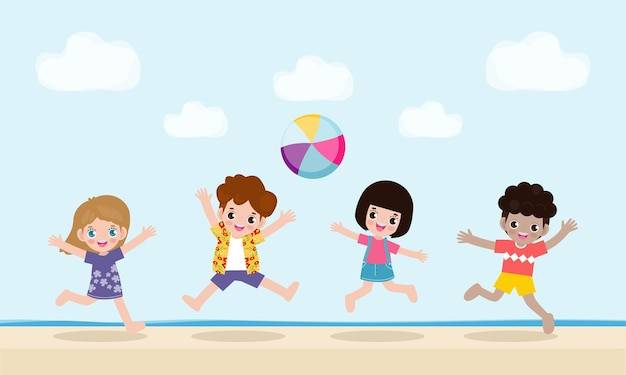 Group of kids playing water volleyball on the beach children jump on the beach in summer time