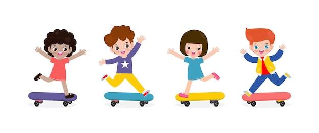 Group of kids riding on skateboards
