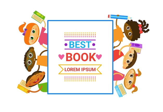 Group of kids with books reading cute children happy smiling