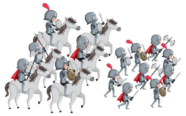 Group of knight going for war on white background