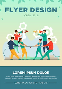 Group leaders shouting at megaphone. teams playing tug-of-war, pulling rope with golden cup flat vector illustration. competition, contest concept for banner, website design or landing web page