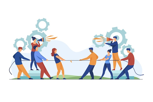 Group leaders shouting at megaphone. teams playing tug-of-war, pulling rope with golden cup flat vector illustration. competition, contest concept