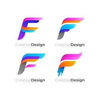 다채로운, 문자 f 로고 및 날개 디자인 조합이있는 그룹 문자 f 로고