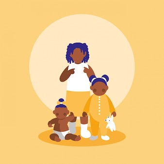 Group of little black girls characters