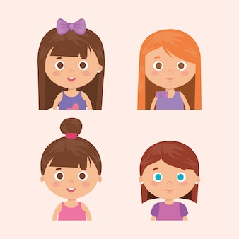 Group of little girls characters