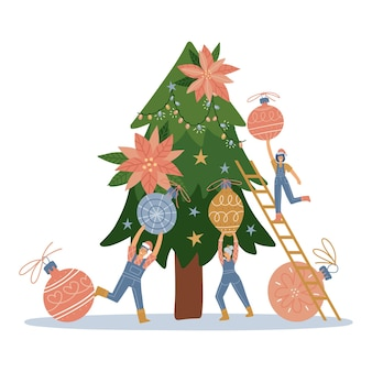 Group of little people decorating christmas tree xmas greeting card illustration vector flat design ...