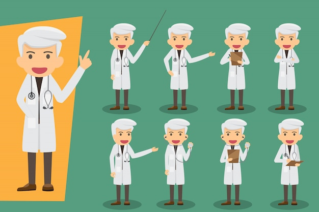 Group of male doctors, medical staff. flat design people characters. set doctors in various pose. health and medical concept