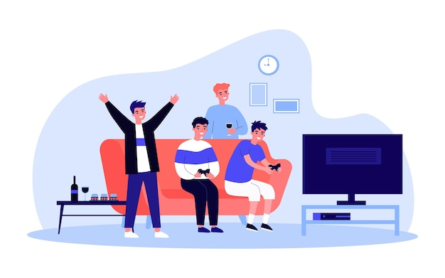 Group of male friends relaxing together in front of tv. flat vector illustration. men drinking wine, sitting on couch, playing console. home, party, leisure, friendship, family concept