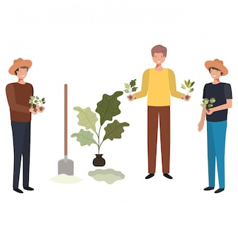 Group of male gardeners smiling avatar character
