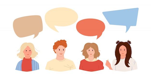 グループの男性と女性の学生またはビジネスマン。カラフルなダイアログの吹き出しとのコミュニケーション