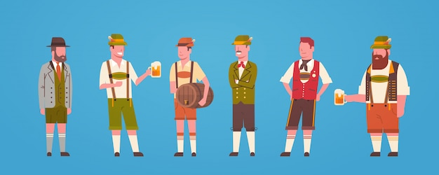 Group of man waiters wearing german traditional clothes male holding beer mugs oktoberfest concept