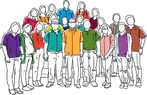 Group of man and woman stand together line art