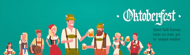 Group of man and woman wearing german traditional clothes waiters holding beer mugs oktoberfest party concept