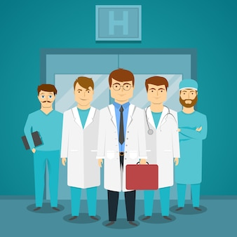 Group of medical specialists in hospital with leading doctor