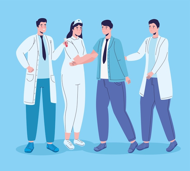 Group of medical staff workers characters  illustration