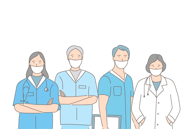 Group of medical workers in protective face masks standing together cartoon outline illustration.