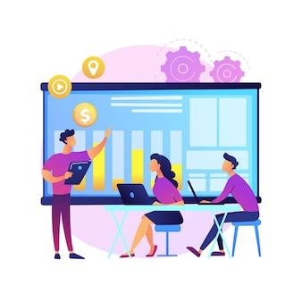 グループミーティング。企業コラボレーション。オフィスの同僚。戦略計画、会議ディスカッション、テーブルブレーンストーミング。スタートアップ組織。孤立した概念の比喩の図。