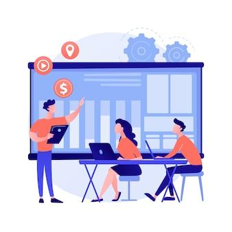 Групповая встреча. корпоративное сотрудничество. коллеги по офису. стратегическое планирование, обсуждение конференции, мозговой штурм за столом. стартап-организация. вектор изолированных иллюстрация метафоры концепции.