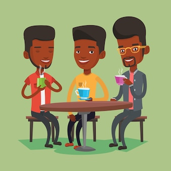 Group of men drinking hot and alcoholic drinks.