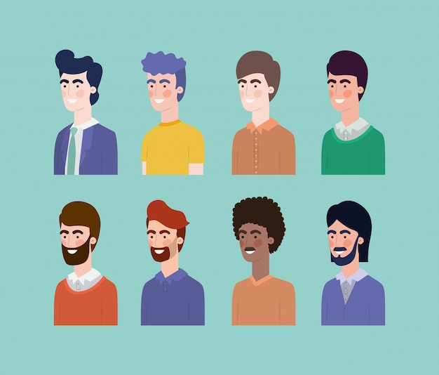Group of men interracial characters