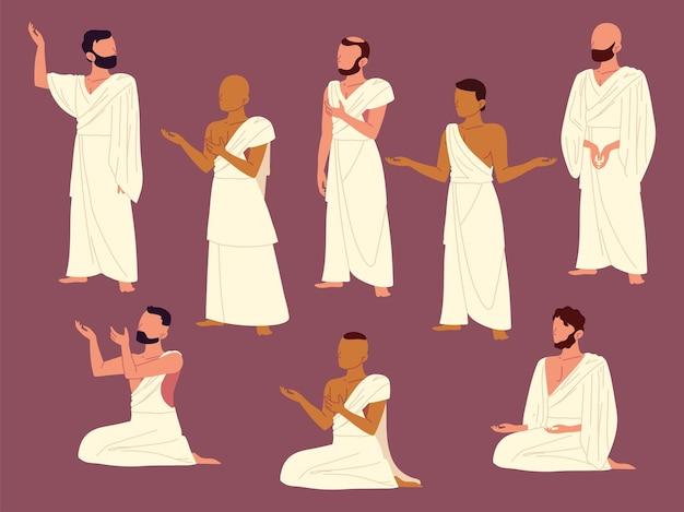 Group of men praying muslim