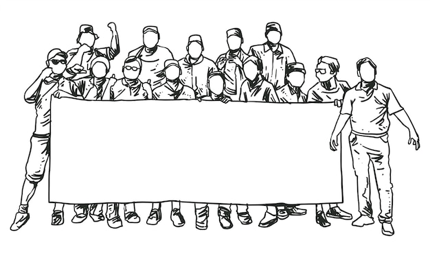 Group of men standing holding big banner line art