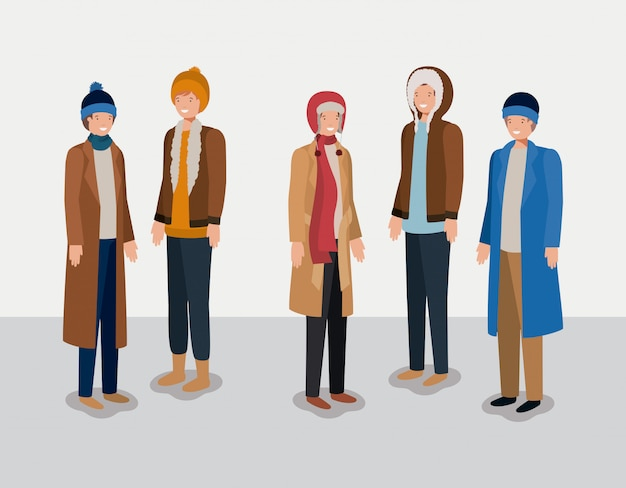 Group of men with winter clothes