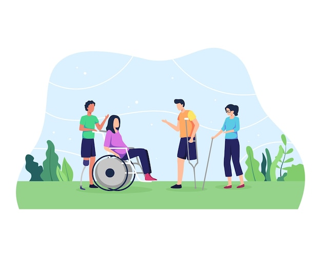 Group of men and women, day of people with disability. group of disabled people with special needs, on wheelchair, with prosthesis.
