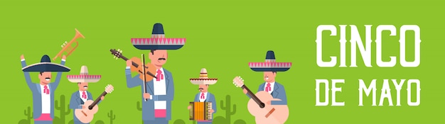 Group of mexican musicians in traditional clothes with sombrero and maracas