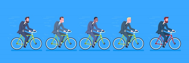 Group of mix race business men wearing suits ride bicycle to work horizontal banner
