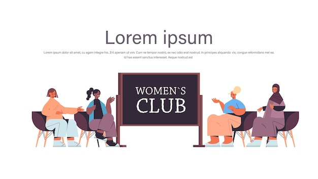 Group of mix race female friends discussing during meeting in women's club girls supporting each other union of feminists concept horizontal full length copy space vector illustration