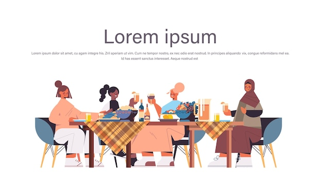 Group of mix race female friends sitting at table discussing during dinner in women's club girls supporting each other horizontal full length copy space isolated vector illustration