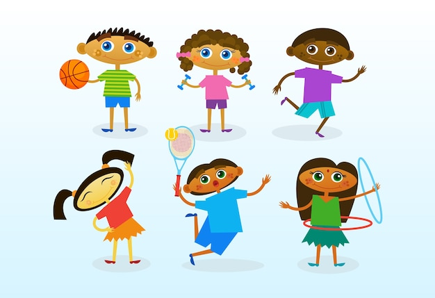 Group of mix race kids, happy smiling diverse children set