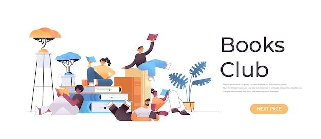 Group of mix race people reading books together in modern book club horizontal full length illustration